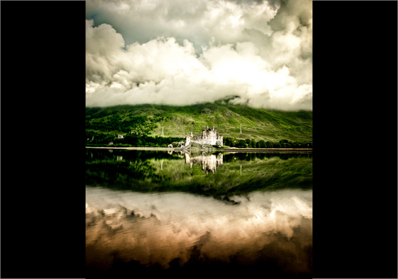 On Location Scotland - castle reflection in bonny Scotland