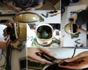 In Radium Studio - Peter repairing helmet microphone