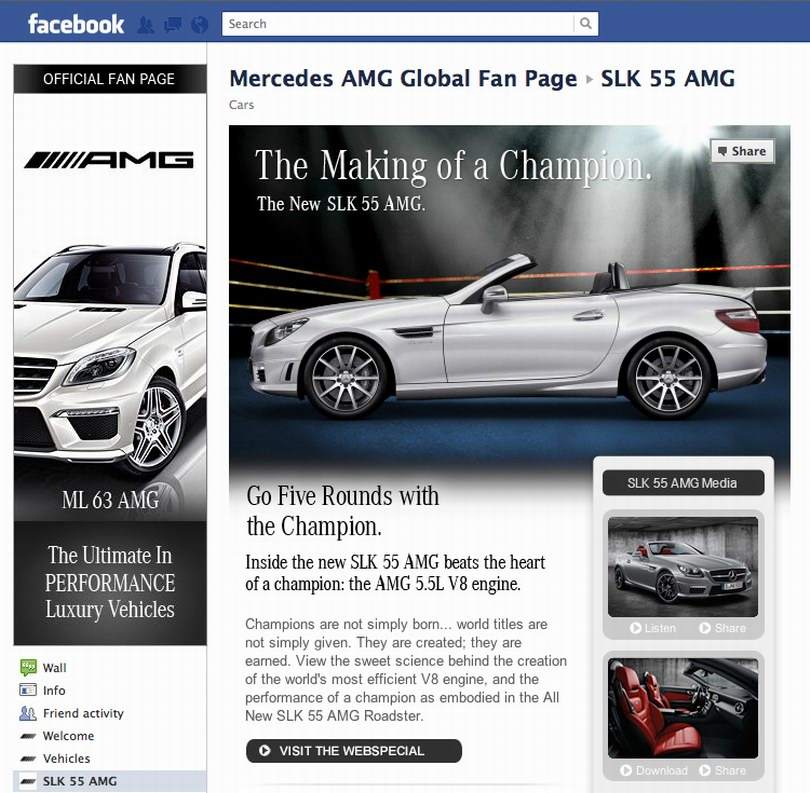 Mercedes AMG55 Facebook Page